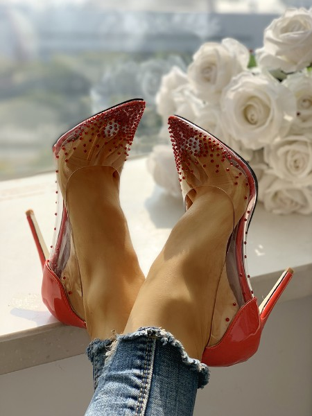 Rhinestone Embellished Transparent Thin Heels