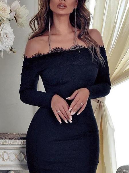 Off Shoulder Eyelash Lace Insert Dress