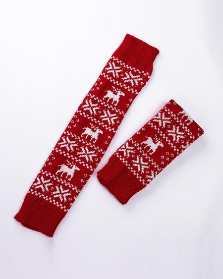 Christmas Elk Printing Long Socks