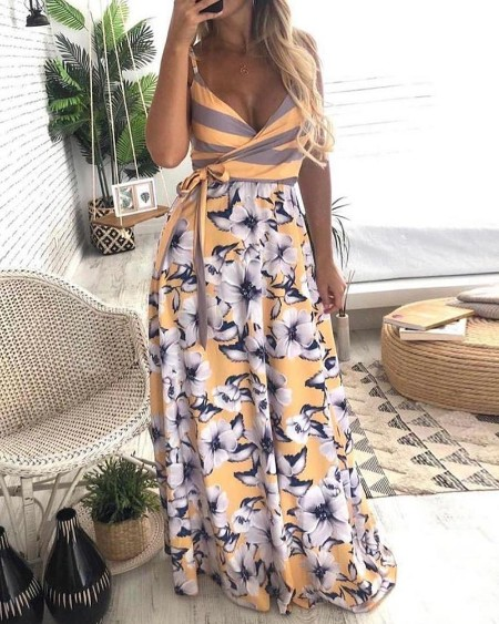 Floral Print Striped Knotted Maxi Dress