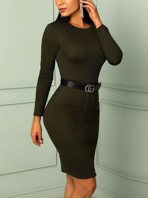 Fashion Pocket Zipper Patchwork Bodycon Dress