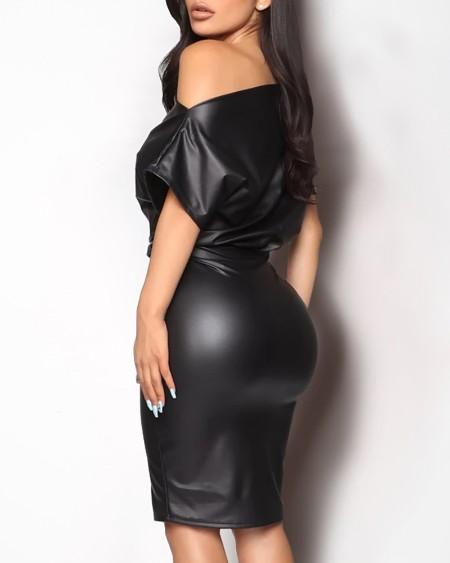 Skew Neck Batwing Short Sleeve PU Bodycon Dress