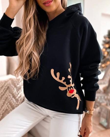 Christmas Moose Print Hooded Sweatshirt