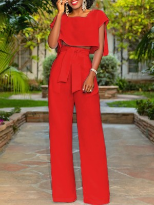 Fashion Cut Out Tied Front Pantsuits