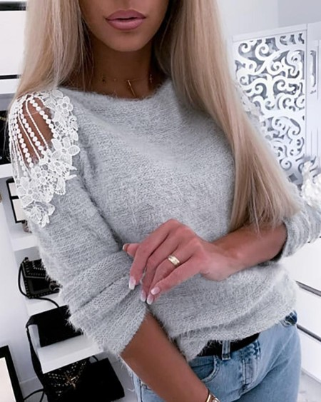 Crochet Lace Hollow-out Shoulder Sweater