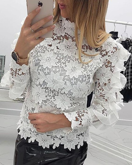 Ruffles Design Mock Neck Floral Lace Blouse