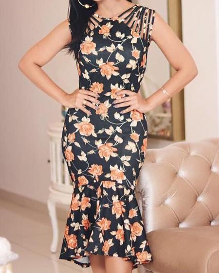 Floral Print Multi-Strap Pep Hem Dress