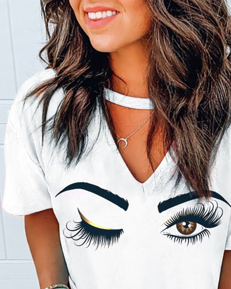 Short Sleeve Eyes Print Casual T-shirt