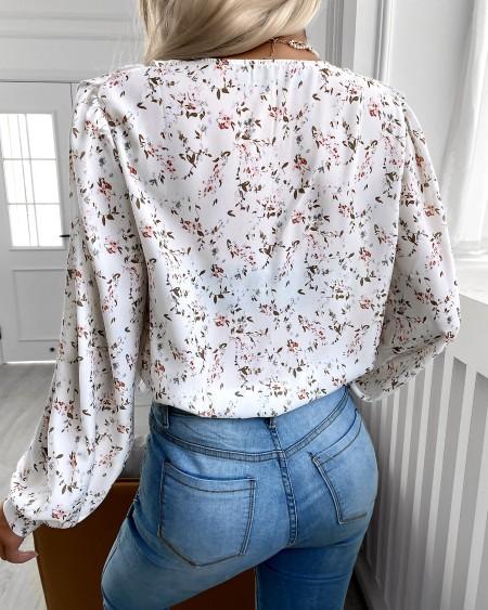 Floral Print Ruffles Lantern Sleeve Top