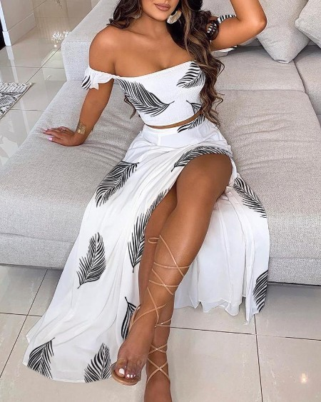 Off Shoulder Print Ruffles Top & Thigh Slit Skirt Set