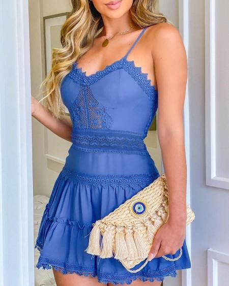 Guipure Lace Frill Hem Casual Dress