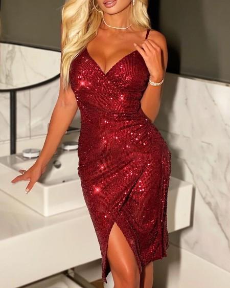 Sequins Slit Party Dress