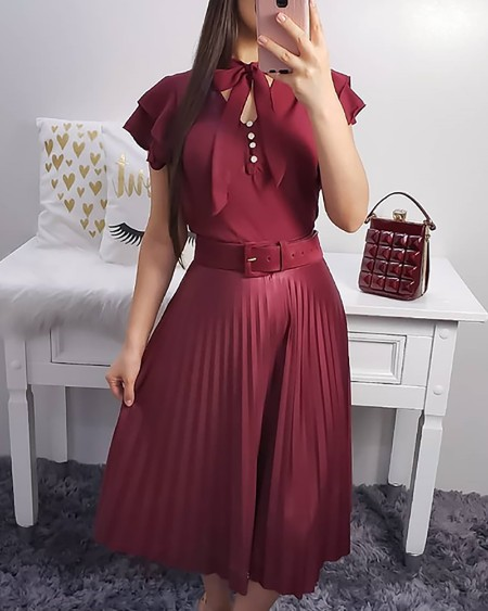 Flutter Sleeve Tie Neck Pleated Dress With Belt