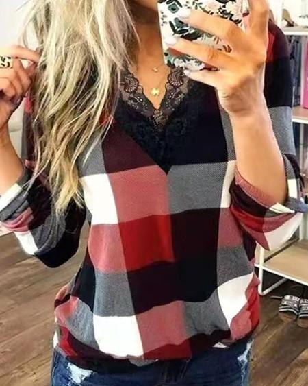 Plaid Lace Trim Long Sleeve Top