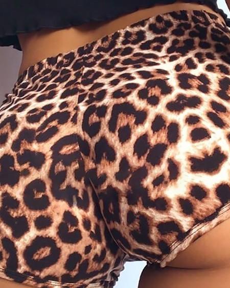 Cheetah Print High Waist Shorts Gym Exercise Short Pants
