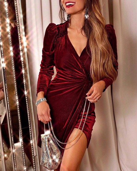 V Neck Wrap Ruched Dress