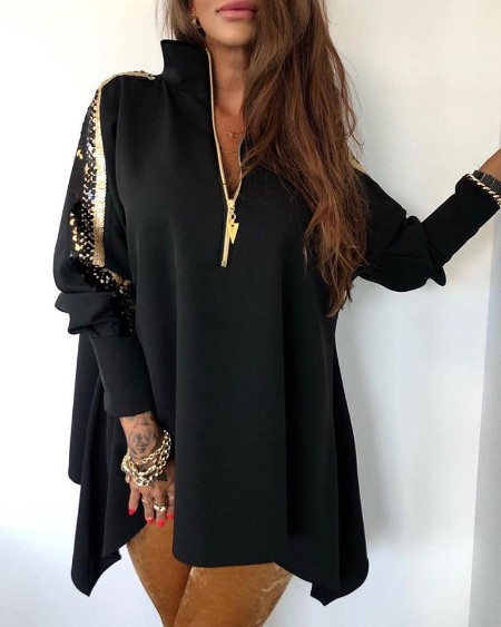 Sequins Patchwork Stand Zipper Design Coat