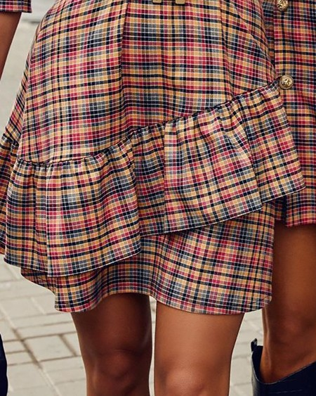 Plaid Ruffles Hem Puffed Sleeve Dress