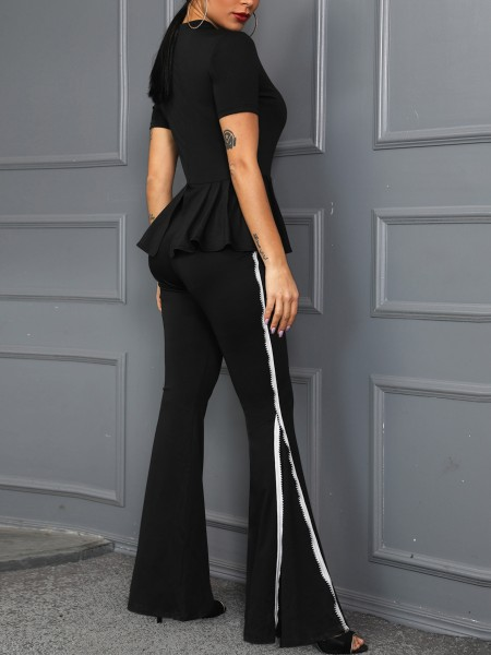 Contrast Piping Ruffles Flared Jumpsuit