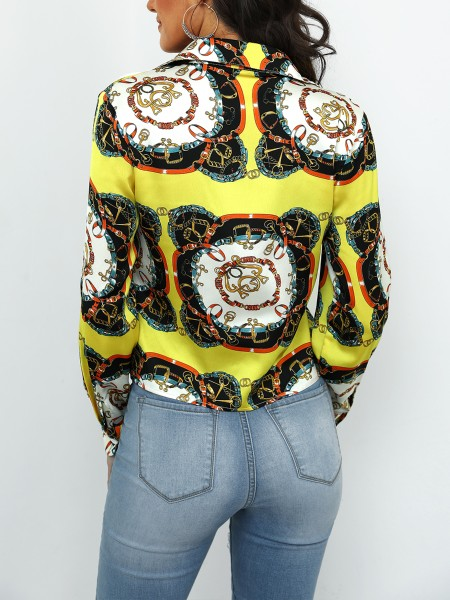 Scarf Print Knot Front Crop Blouse