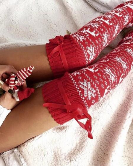 Christmas Elk Printing Long Socks