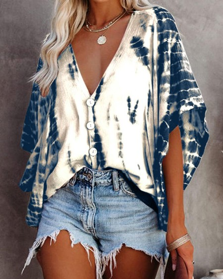 Bat Sleeve Tie-dye Print Blouse