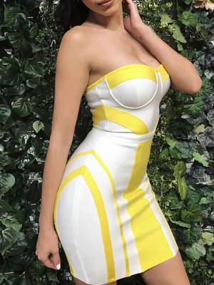 Contrast Color Strapless Bodycon Mini Dress