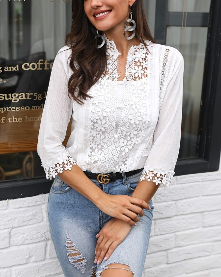 boutiquefeel / Plunge Half Sleeve Crochet Lace Splicing Casual Blouse