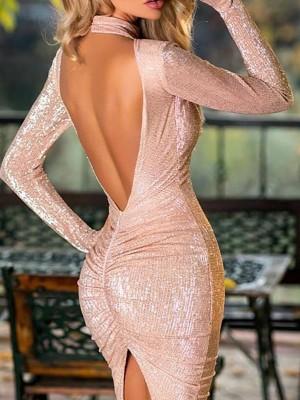 Glitter Open Back Slit Party Dress