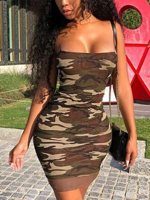 Camouflage Spaghetti strap Bodycon Dress