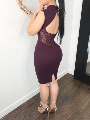 Sexy Mock Cut Out Front Open Back Bodycon Dress