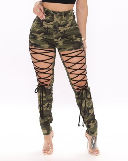 Lace-up Camouflage Print Casual Pants