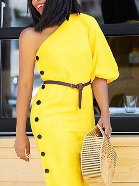 One Shoulder Lantern Sleeve Button Design Dress
