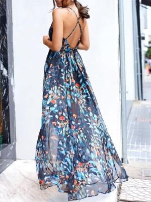 Floral Plunge Halter Crisscross Backless Maxi Dress