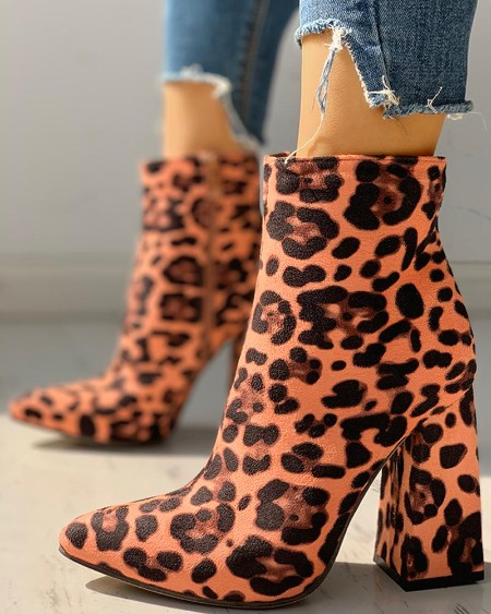 boutiquefeel / Suede Chunky Heeled Ankle-Boots