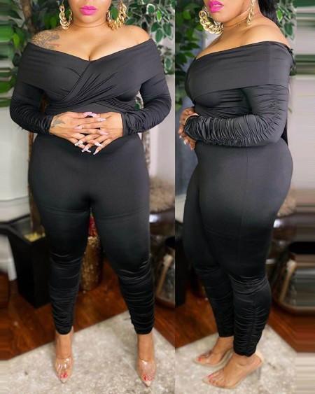 Plus Size Plain Long Sleeve Ruched Jumpsuit