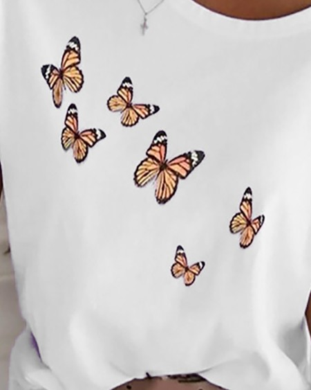 Butterfly Print One Shoulder Casual T-shirt