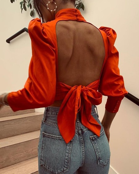 Knotted Backless High Neck Blouse