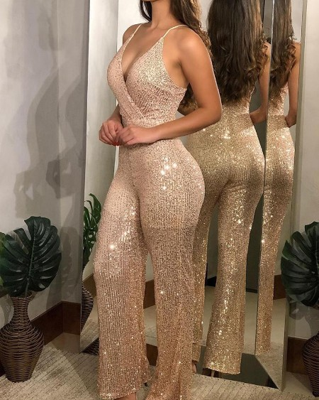 Sleeveless Spaghetti Strap Sequined Jumpsuit