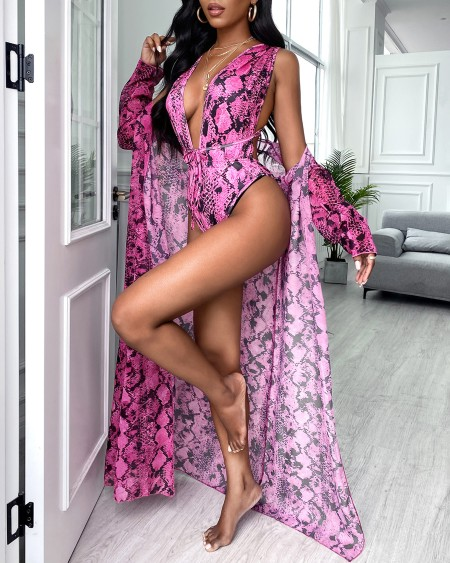Snakeskin Print Plunge One Piece Swimsuit With Cover Up