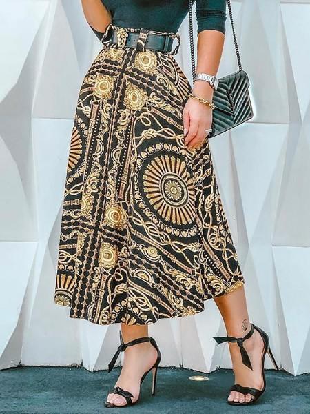 High Waist Chain Print Casual Skirt