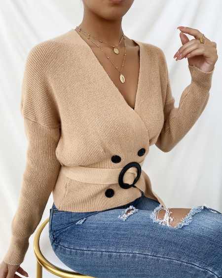 Double Breasted Long Sleeve Wrap Top