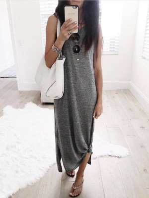Solid Sleeveless Slit Tank Causal Dress