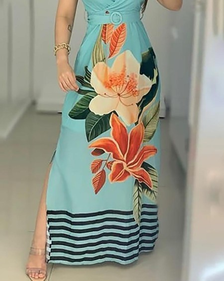 Floral Print Striped Side Slit Maxi Dress