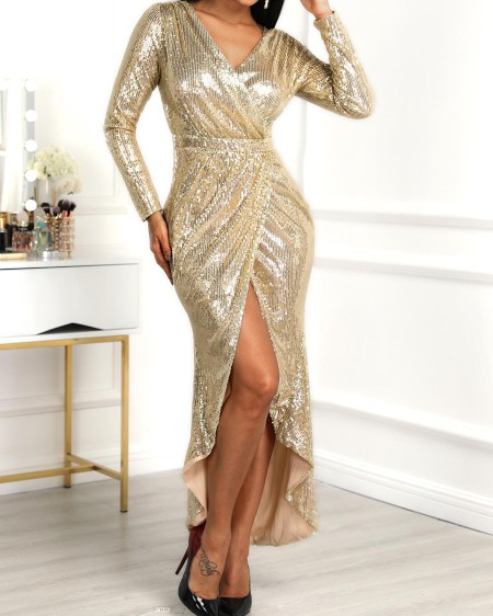 boutiquefeel / Wrap Ruched Irregular Sequin Party Dresses