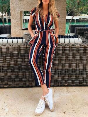 Contrast Color Stripe Belted Casual Jumpsuit