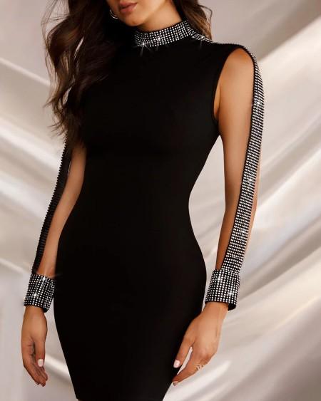 Mock Neck Sequin Bodycon Dress