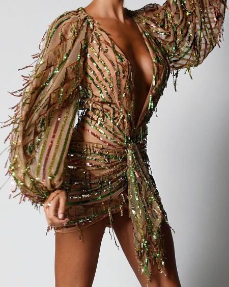 Sequins Tassel Design Tied Waist Dress