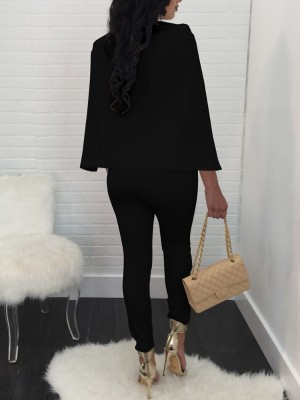 Deep V Cloak Double Breasted Jumpsuit
