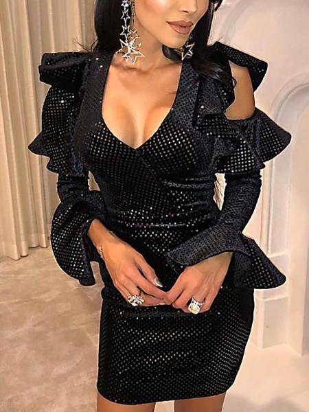 Cold Shoulder Ruffles Design Sequin Bodycon Dress